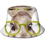 Printed Fisherman Packable Summer Travel Hat Fashion Outdoor Cap Multicolor Funny Watercolor Portrait of Rabbit with Glasses Fisherman Bucket Hat Unisex Polyester Reversible Sun Hat  B0922K7BW9